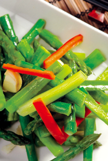 Asparagus fried with bean sauce