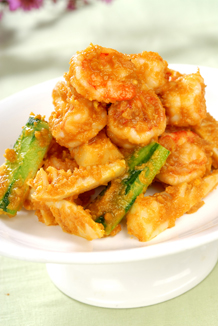 Sauteed prawn with salty yolk